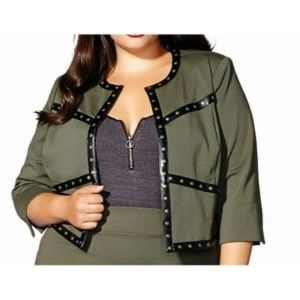 MBLM Studded Crop Blazer Olive Green 2X Plus